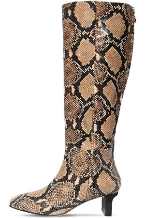 Aeyde 55mm Cicely Snake Print Leather Boots