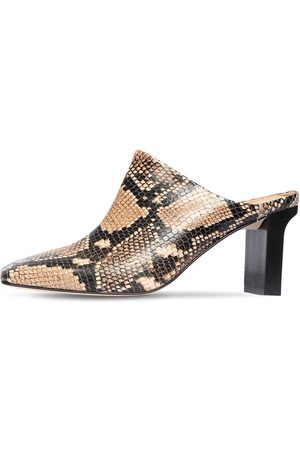 Aeyde 75mm Edith Snake Print Leather Mules