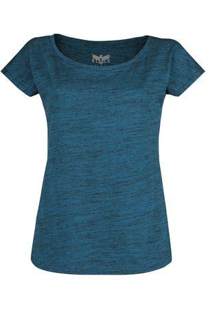Black Premium by EMP Damen T-Shirts, Polos & Longsleeves - Blaues T-Shirt in Melange-Optik T-Shirt