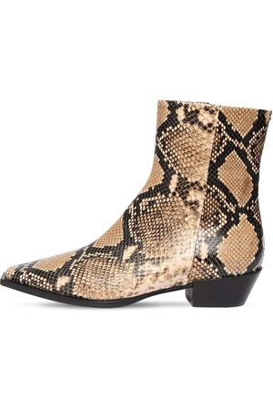 Aeyde 40mm Ruby Snake Print Leather Boots