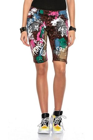 Cipo & Baxx Shorts mit Graffiti Denim-Coating