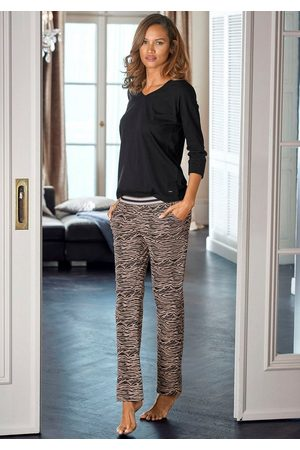 s.Oliver Damen Lange Hosen - Pyjama lange Hose mit Animal-Print
