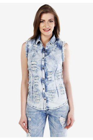 Cipo & Baxx Jeansweste mit lässigen Used-Details