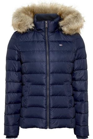 Tommy Hilfiger Daunenjacke »TJW BASIC HOODED DOWN JACKET« mit Fellimitat an der Kapuze & Logo-Flag