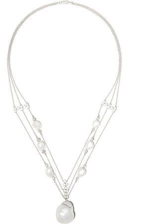 Yoko London 18kt Weißgoldhalskette mit Perlen