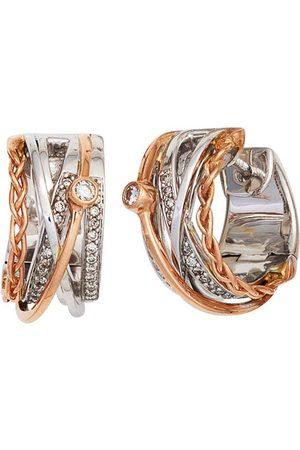 Jobo Paar Creolen, rund 585 bicolor mit 52 Diamanten