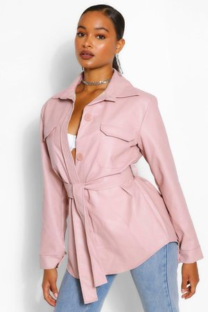 Boohoo Womens Belted Faux Leather Utility Jacket - - 34