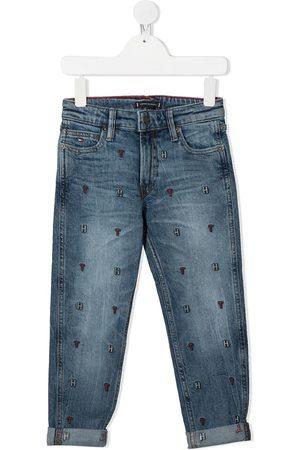 Tommy Hilfiger Junior Jungen Straight - Gerade Jeans mit Logo-Stickerei