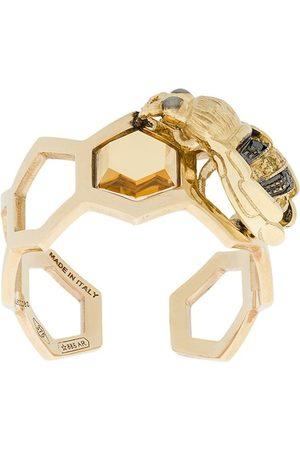 DELFINA DELETTREZ 9kt 'To Bee or Not To Be' Gelbgoldring mit Diamanten und Saphiren