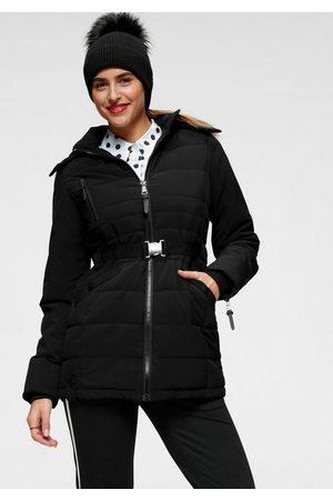 ALPENBLITZ Winterjacke »Oslo short« hochwertige Steppjacke mit Markenprägung auf dem elastischem Gürtel und kuscheliger, abnehmbarer Kapuze
