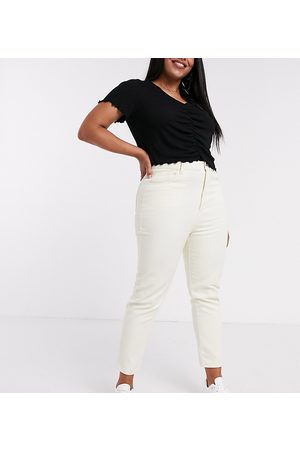 Daisy Street – Mom-Jeans mit hoher Taille in Stone
