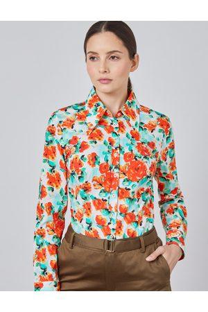Hawes & Curtis Blusen - Damen Bluse | Größe 48 Slim Fit Baumwollstretch Vintage-Kragen - Blumen |