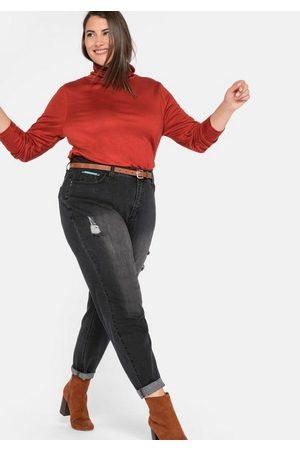 Sheego Stretch-Jeans Mom mit Destroyed-Effekten