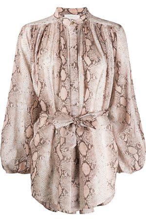 ZIMMERMANN Damen Blusen - Hemd mit Schlangenleder-Print