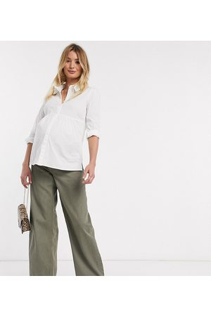 ASOS ASOS DESIGN Maternity – Relaxed – Hoch geschnittene, lockere Dad-Jeans in Khaki
