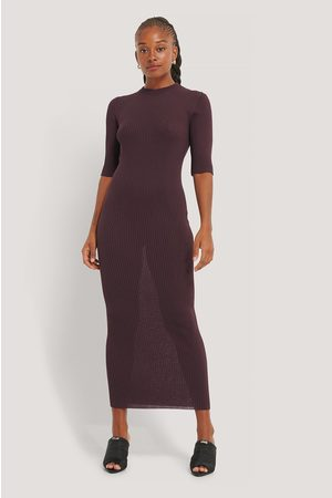 NA-KD 3/4-Ärmel Geripptes Strickkleid - Purple