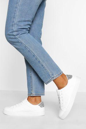 Boohoo Womens Schlichte, Flache Sneaker Mit Glitzereinsatz - - 36