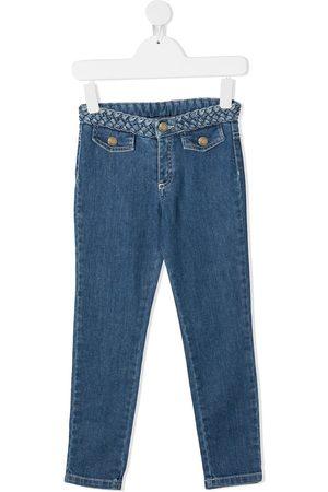 Chloé Mädchen Cropped - Jeans mit geflochtenem Bund