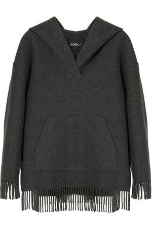 GOEN.J Damen Sweatshirts - Kapuzenpullover mit Fransen