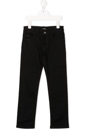 HUGO BOSS Jungen Straight - Gerade Jeans mit Logo-Print
