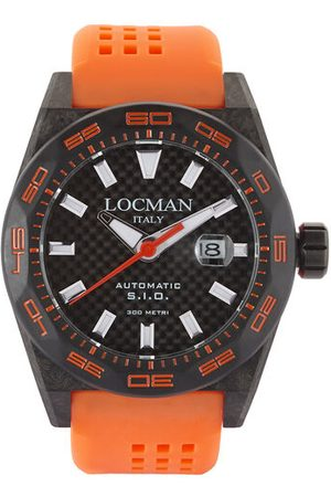Locman Italy Herrenuhr Stealth Carbon Automatik schwarz/orange Ref. 0216