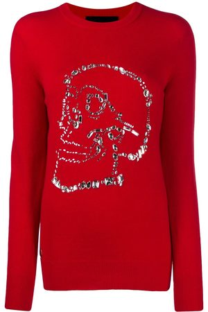 Philipp Plein Damen Strickpullover - Pullover mit Kristallen