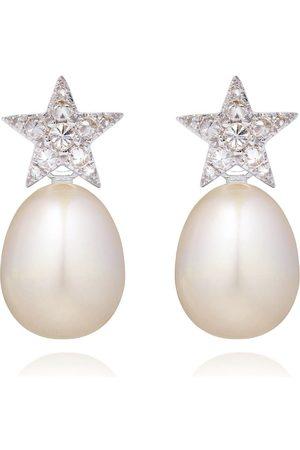 ANNOUSHKA 18kt Weißgoldohrringe mit Diamanten und Perlen
