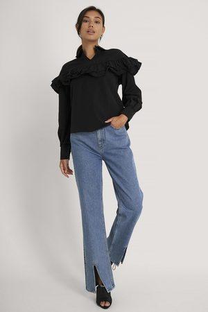 Trendyol Damen Blusen - Bluse Mit Rüschendetail - Black
