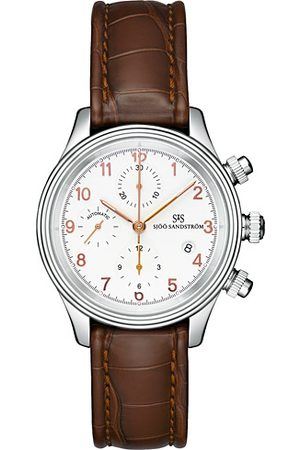 Sjöö Sandström Royal Steel Chronograph Ivory and Brown Alligator 42 mm