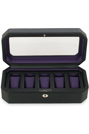 Wolf Windsor 5 Piece Watch Box Black Purple
