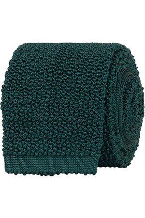 Drake's Herren Krawatten - Knitted Silk 6.5 cm Tie Green