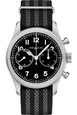 Mont Blanc Herren Uhren - 1858 Steel Automatic Chronograph 42mm Black Dial
