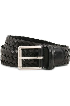 Anderson's Herren Gürtel - Woven Leather 3,5 cm Belt Tanned Black
