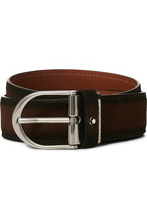 Mont Blanc Horseshoe Buckle Belt 35mm Light Brown Suede