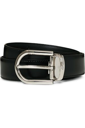 Mont Blanc Horseshoe Coated Buckle 30mm Leather Belt Black
