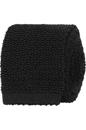 Drake's Knitted Silk 6.5 cm Tie Black