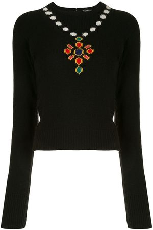 CHANEL Damen Pullover - 1995' Pullover mit Halskettenmotiv