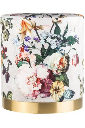 Essenza Gepolsterte Sitzfläche. Samtbezug. Fuß in Goldoptik. Floraler Allover-Print. Maße:- 43 x 39 x 39 cm (H x B x T)