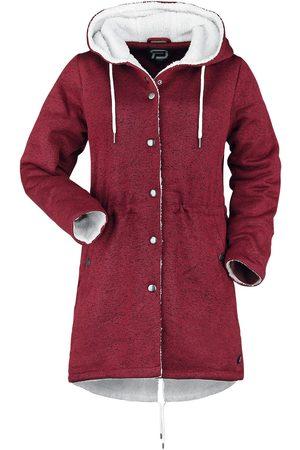 RED by EMP Damen Mäntel - Mantel mit flauschigem Futter Mantel bordeaux/weiß