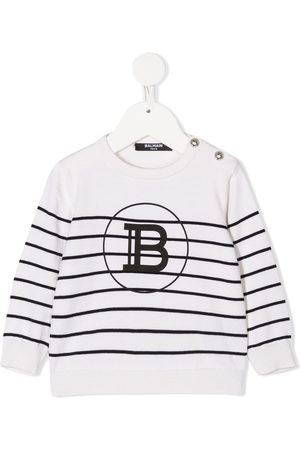 Balmain Strickpullover - Gestreifter Pullover mit Logo