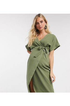 ASOS ASOS DESIGN Maternity – Wickel-Midikleid in Khaki