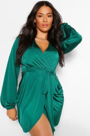 Boohoo Womens Plus Disco Slinky Belted Wrap Dress - - 42