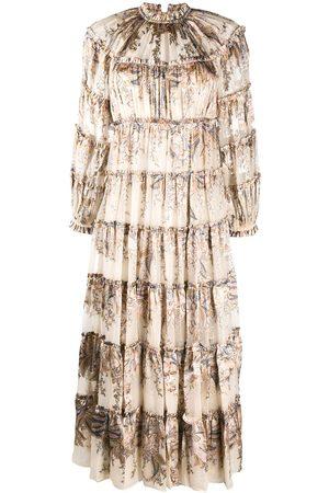 ZIMMERMANN Bedrucktes Kleid mit Volants