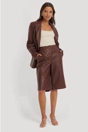 NA-KD Lange Pu-Bermuda-Shorts - Burgundy
