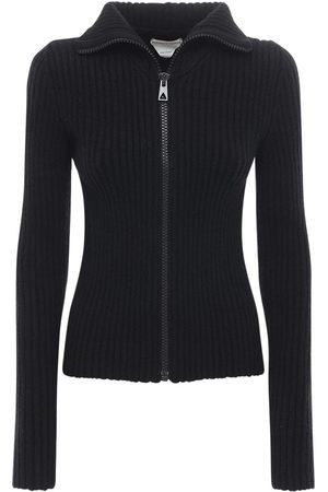 Bottega Veneta Zip-up Wool Knit Cropped Sweater