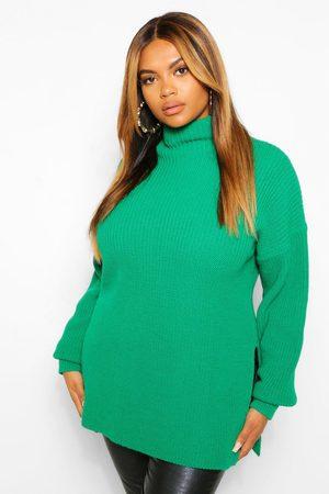 Boohoo Womens Plus Pullover Mit Seitenschlitz Und Rollkragen - - 50