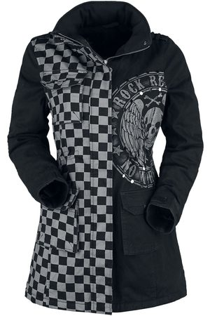 Rock Rebel Damen Winterjacken - /graue Jacke mit Nieten und Print Winterjacke /