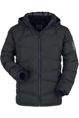RED by EMP Herren Winterjacken - Schwarze Puffer Jacke mit abnehmbarer Kapuze Winterjacke
