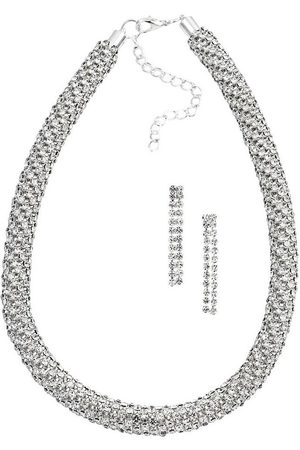 J. Jayz Uhren - Ohrring und Ketten Set »Strass-Schmuckset, edel, elegant und glamourös« (Set, 3-tlg), mit Glassteinen