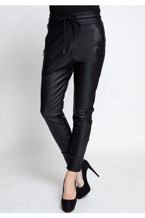 Zhrill Damen Leder & Lederimitathosen - Jogger Pants »FABIA FAKE LEATHER« Lederimitathose im Joggerstil mit elastischem Bündchen